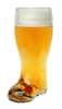 1L Glass Beer Boot Full of Beer, Three Quarter View