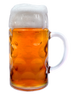 Left Side of 1 Liter Dimpled Glass German Beer Mug