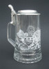 Traditional German Beer Glass with Hockey Engravings