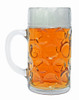 1L Dimpled Glass German Beer Mug, Rear View