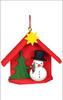 Snowman House Wooden German Ornament