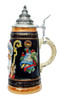 Handpainted Ceramic Christmas Beer Stein with Lid