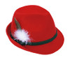Red Tyrolean Hat with Feather