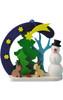 Snowman and Bunnies Wooden German Ornament