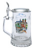 Munich German Glass Beer Stein with Pewter Lid