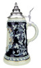 Blue .5 Liter Beer Stein with Undecorated Panel Framed with Flowers