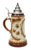 .5 Liter Ceramic German Beer Stein with Pewter Conical Lid