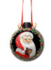 Hand Painted Santa Ceramic Christmas Ornament with Red Hanging Ribbon