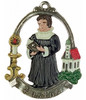"German Pewter Pastor Christmas Ornament with a Banner that reads ""Pastor"""