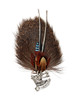 Elk Rosette Feather and Hair German Hat Pin