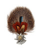 Edelweiss Rosette Feather and Hair German Hat Pin