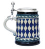 Bavarian Diamond Pattern Beer Stein Blue