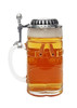 German 1.5 liter glass beer stein with handle and lid