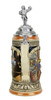 Side view of collectible traditional ceramic German stein