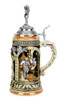 Traditional ceramic beer mug displays art honoring the 1516 Reinheitsgebot German beer purity law