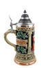 Hand Painted German Beer Stein with Pewter Lid and Multi Color Gold Finish