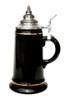 .5 Liter Smooth Black Glaze Beer Stein with 24K Gld Accents