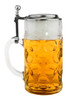 Authentic German Glass Beer Mug with Pewter Lid