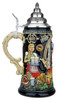 Collectible Ceramic Oktoberfest Beer Stein with Lid