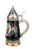 Hand-Painted German Stein with Pewter Lid & 24K Gold Accents