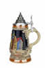 Cobalt Blue Glazed Mini German Stein with Pointed Pewter Lid