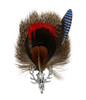 Deer Skull Rosette Feather and Hair German Hat Pin