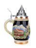 Cobalt Blue Glazed Mini Hand-Painted Stein with Pewter Lid