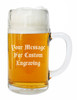 Custom Engraving Placement on One Liter Styria Smooth Body Glass Beer Mug