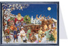 Children near Santa's Sleigh German Advent Calendar Christmas Card