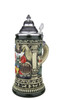 Hand Painted German Beer Stein of Gambrinus with Lion and Mug Boarder