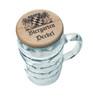 Wood Beer Mug Cover on 1L Mug, Showing Bavarian Crest on Lid