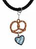 Pretzel with Heart German Pewter Dirndl Necklace