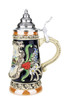 German Beer Stein Depicts Geneva Switzerland with Pewter Lid & Thumblift