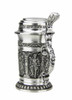 Small Solid Pewter Stein with Five Decorative Panels