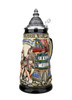 German Beer Stein with Traditional Bavarian Symbols for Oktoberfest