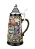 Relief Decorated German Beer Stein with Pointed Pewter Lid