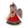 Christmas Angel with Horn German Pewter Christmas Ornament