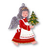 Christmas Angel with Tree German Pewter Christmas Ornament