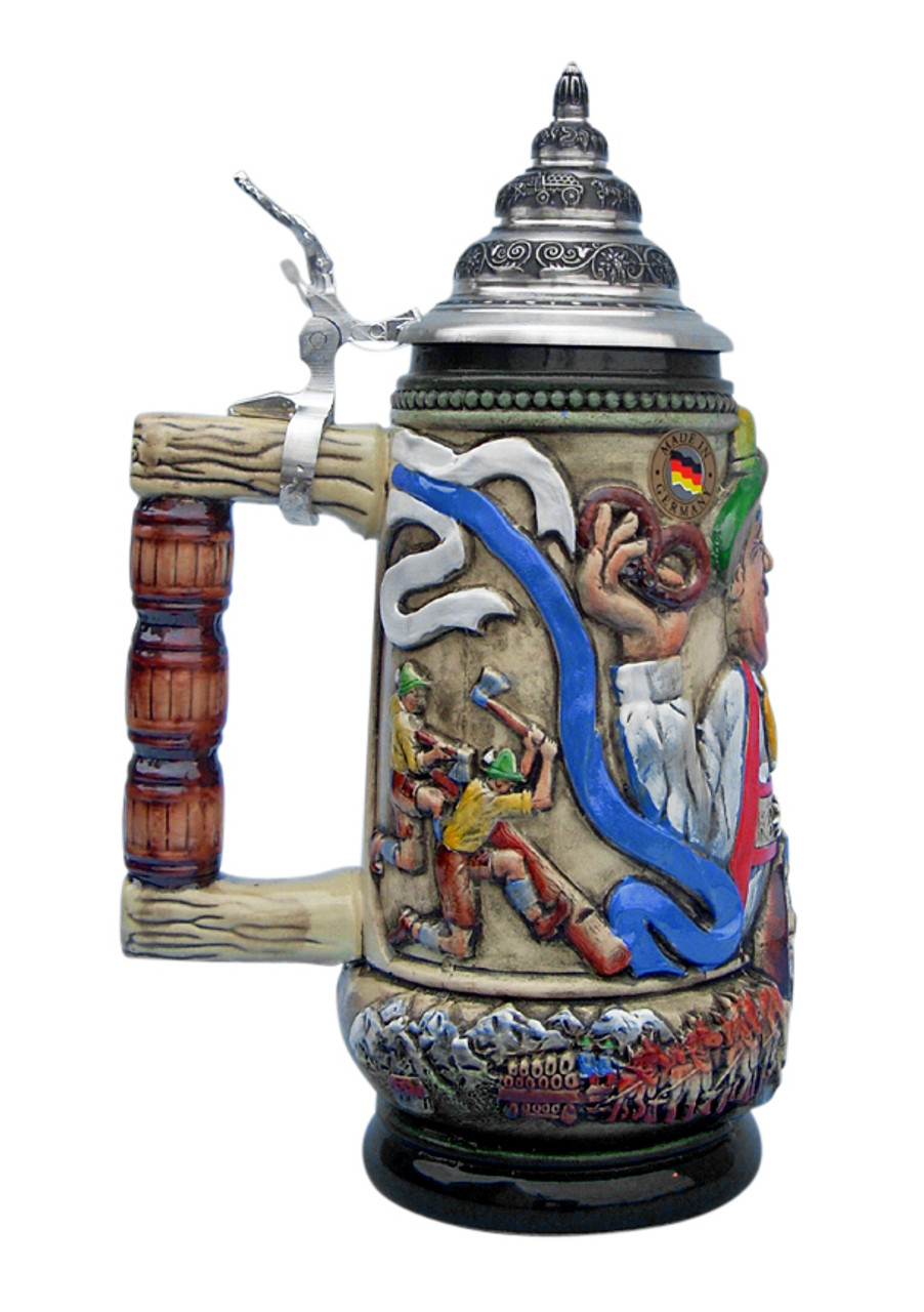 Alpine Oktoberfest Beer Stein Wood Chopping