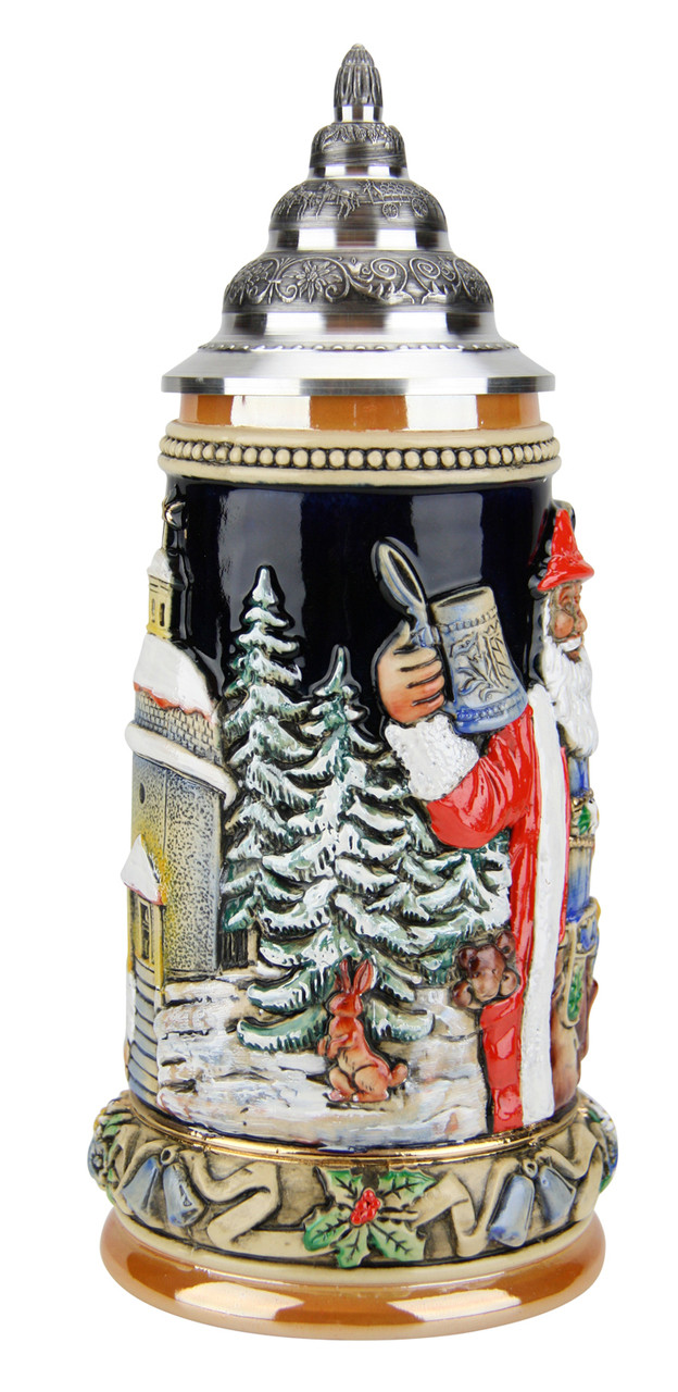 Ornate Christmas Beer Stein with Pewter Lid for Sale