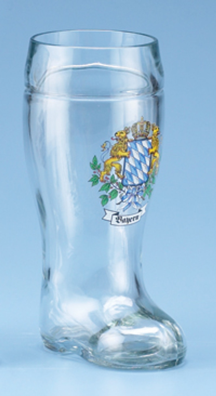 German Glass Beer Boot with Bavarian Crest