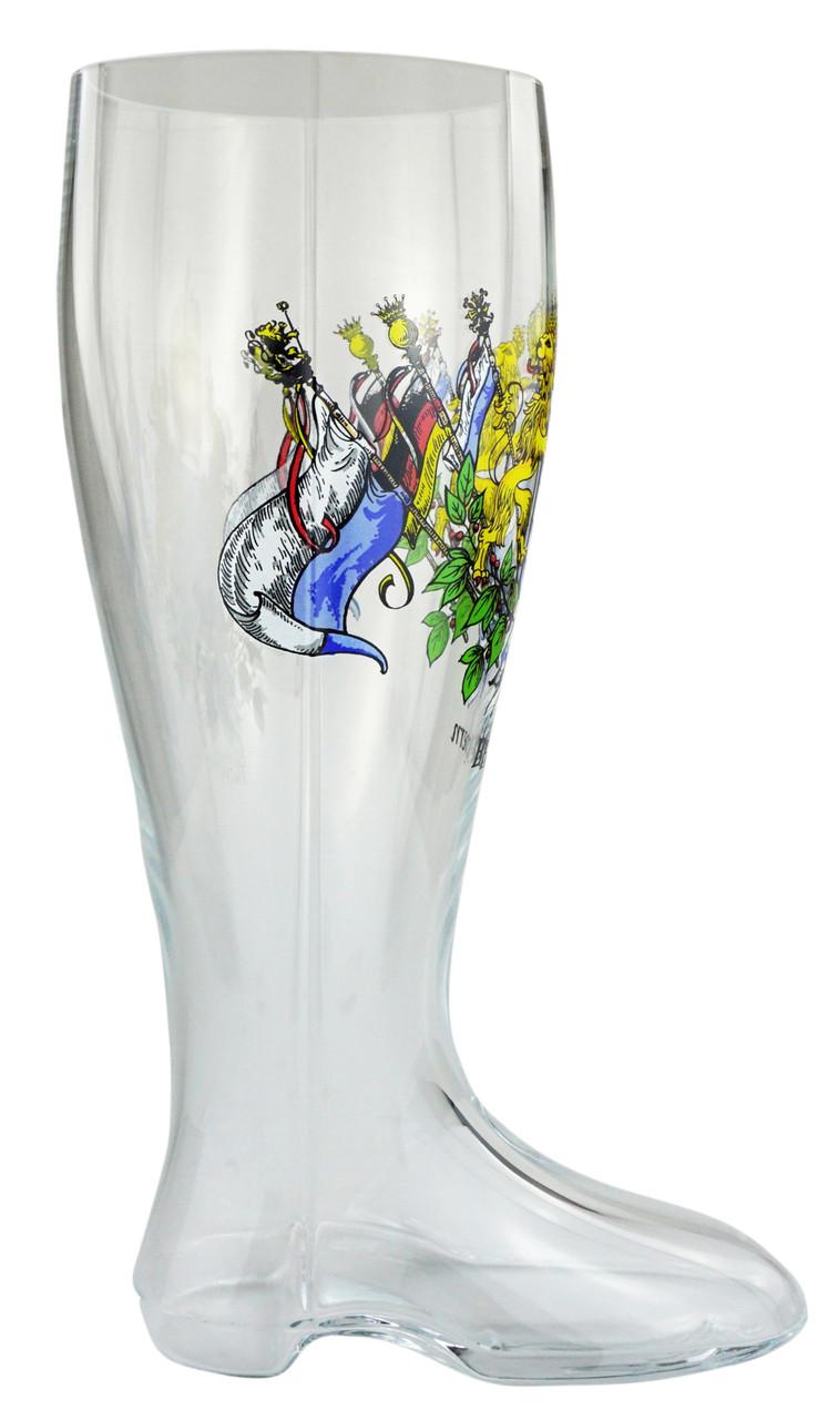 Bavarian Crest Glass Beer Boot 2 Liter