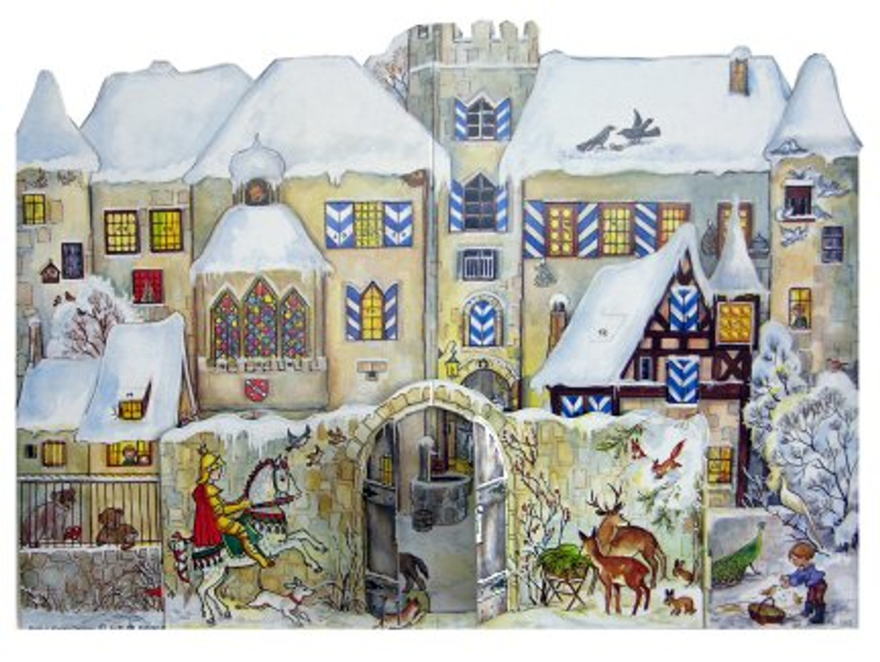 Traditional Wooden German Advent Calendar 3D Bavarian Knight