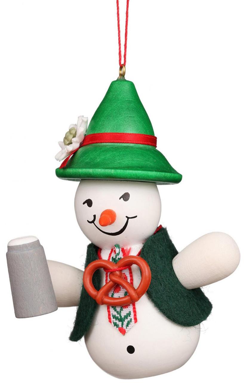 Traditional Bavarian Snowman Wooden German Ornament
