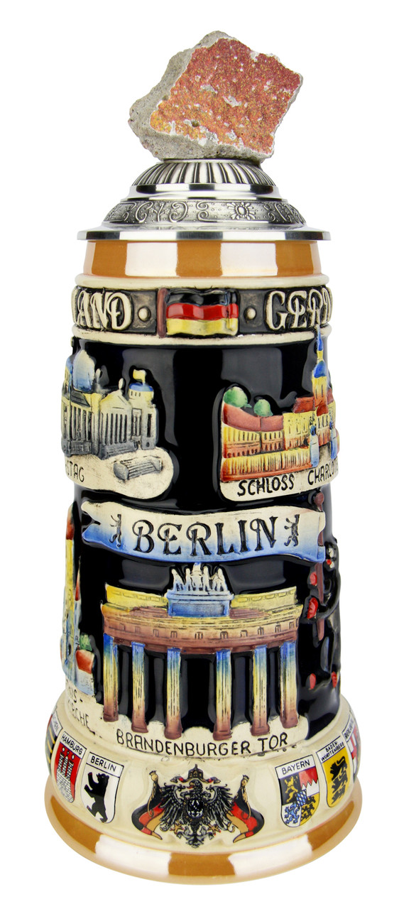 Authentic Ceramic Beer Stein with Real Piece of Berlin Wall