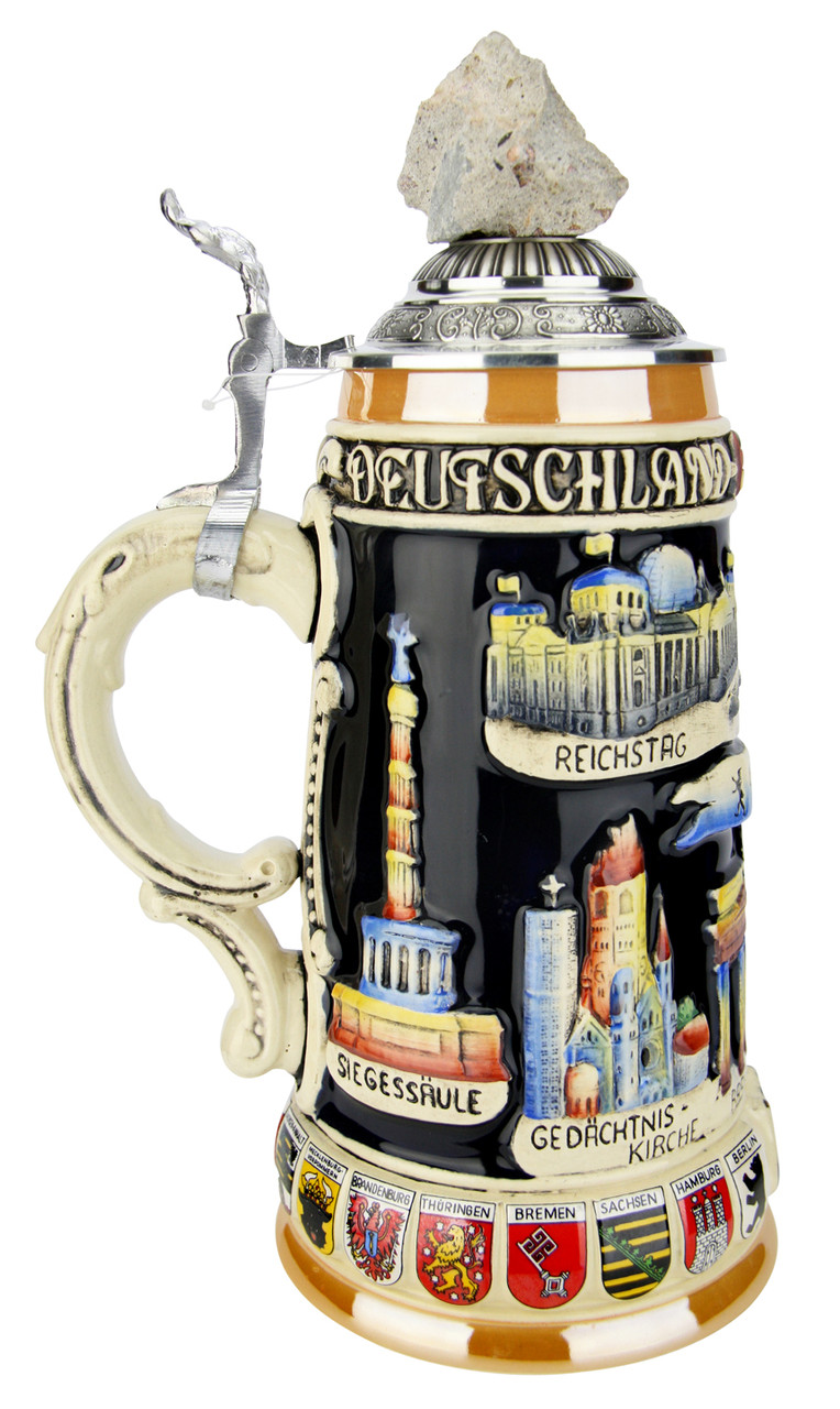 Traditional Ceramic German Beer Stein with Pewter Lid