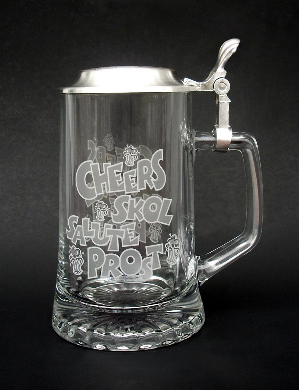 Cheers! Authentic German Glass Beer Stein with Personalized Engraving Option