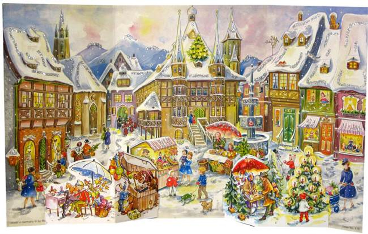 Wooden Large German Christmas Advent Calender Christkindlmarkt 1958