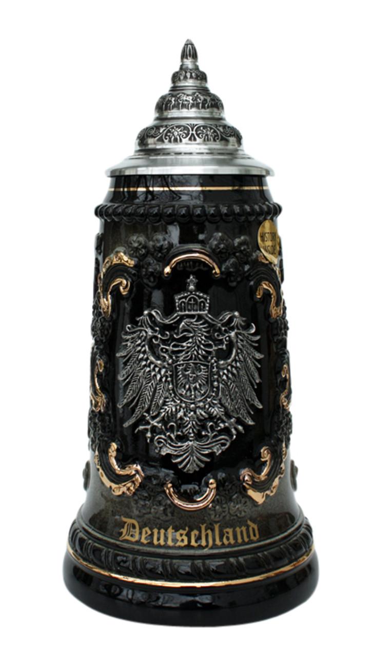 """Black & Gray German Beer Stein with """"Deutschland"""" in 24K Gold Ink"""