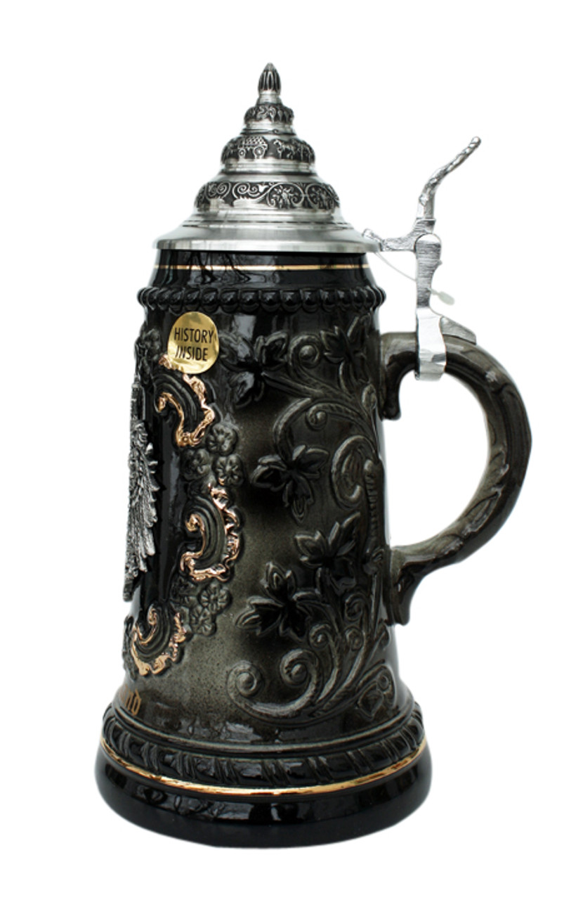 .5 Beer Stein with German Eagle Crest & 24K Gold Accents